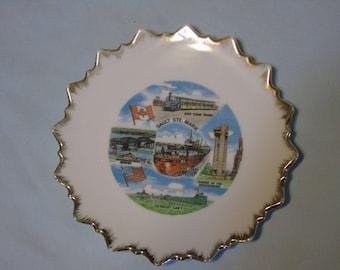 vintage souvenir plate Sault Ste.marie Michigan