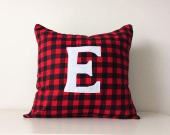 Custom Initial Pillow Cover, Monogram Letter, Flannel Red Black Buffalo Plaid Modern Cushion Cover Rustic Chic Cottage Decor, Family Initial