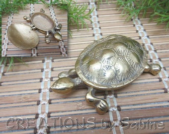 Brass Turtle Trinket Box Small Miniature Figurine Keepsake Hinged Shell Beach Island Sea Life Gold Tone Vintage FREE SHIPPING (623)