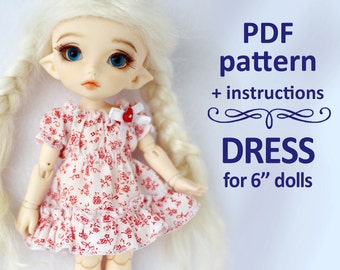 PDF pattern of stretched dress for Lati yellow / PukiFee bjd
