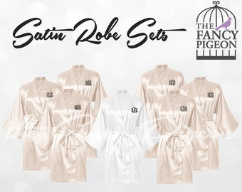 IVORY SATIN ROBES - Bridal Robe Set - Satin Bridesmaid Robes - Silk Bridesmaid Robes - Getting Ready Robes - Personalized Robe - Kimono