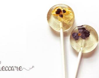 Pansy Flower Lollipops // 12 Edible Flowers Lollipops // Summer Weddings // Fall Wedding Favor // Spring Flower Lollipops // Pressed Flowers