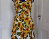 Vintage 90s AVI Inc. Hipster Boho Grunge Festival Sunflower Mini Sundress Baby Doll Dress