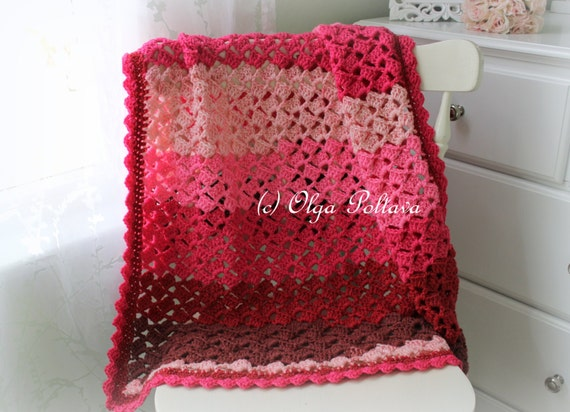 Cherry Chip Baby Afghan Crochet Pattern, Baby Blanket, Stroller Cover, Instant PDF Download Pattern