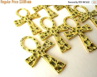 10 Hammered Ankh Pendants - Lot of Ankhs - Charm Lot - Egyptian Charms
