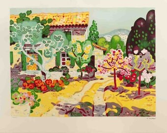 Guy Charon-Paysage de Campagne-1975 Lithograph-SIGNED