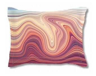 Pillow Sham   Standard & King Pillow Sham   Faux Marble Print   Pink  and Purple Abstract Custom Bedding   Wedding Gift   Pillow Sham