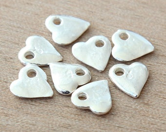 Small Heart Charms, Silver Plated, 10mm - 8 pcs - eC2859S