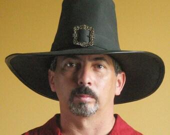 New Medieval Celtic Renaissance SCA Larp Leather Puritan Solomon Kane Hat (Antique Brass Buckle)