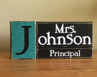 Personalized teacher gift, principal gift, desk decor, Personalized name block, wood, secreatary gift, counselor gift, personalized sign