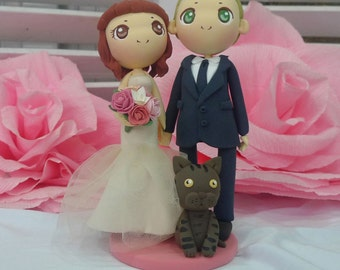 Wedding Cake topper pink wedding theme clay doll, bride in pastel pink strapless mermaid wedding gown clay miniature, bengal cat clay figure