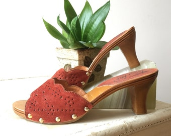 Brogue leather heels | wood and leather | deadstock vintage 60s shoes | size 6