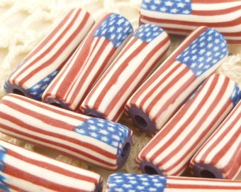 American Flag Tube Beads (10)