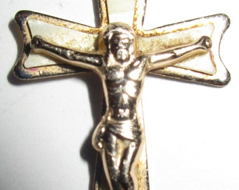 Beautiful Vintage CRUCIFIX PENDANT with Mother of Pearl - circa 1980s