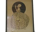 Douky print Woman in fancy dress talks to Pierrot doll, 1920's
