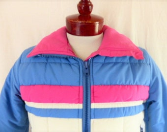 vintage 70's 80's Roffe Skiwear color block pastel light blue pink white stripe puffy ski jacket puffer down filled front zip unisex quilted