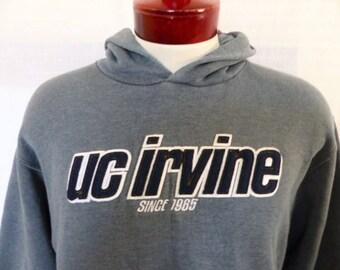 Go UCI Anteaters vintage 90's University of California Irvine UC dark heather gray hoodie graphic sweatshirt applique blue felt logo medium
