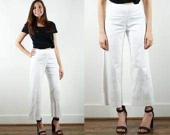 1980s White Cropped Pants