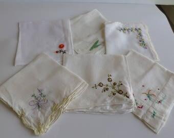 Lot of 6 White Vintage Handkerchiefs  Cotton,Hankie, Hankerchief, Wedding Accessory , Quilt Supply, Craft
