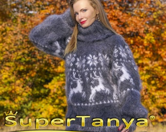 SUPERTANYA Made to order Icelandic Nordic Ski  mohair sweater fuzzy jumper in gray and white