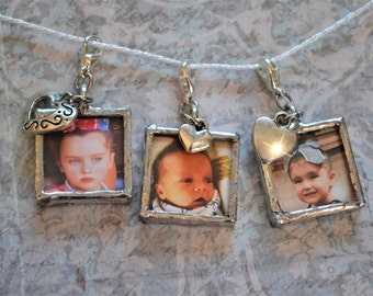 Soldered Charms, Silver Solder, Silver Soldered Glass Pendant, Reversible, Double Sided, Soldered Pendant, Soldered Jewelry, Photo Charms