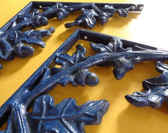 Vintage Cast Iron Brackets, Oak Leaf and Acorn