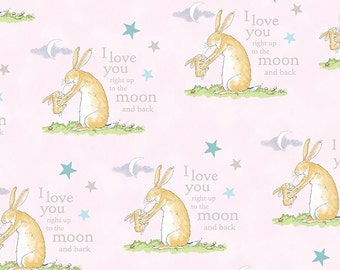 Fat Quarter Guess How Much I Love You Rabbit Scene Pink Cotton Quilting Fabric