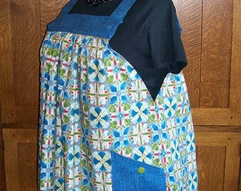 Blue and Green Plus Size No Tie Smock - Plus Size Smock Apron - Size 3XL to 4XL