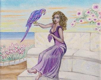 Purple Parrot Giclee Fine Art print