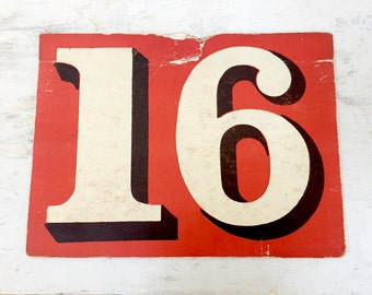 Vintage Number 16 SIXTEEN - Fifteen 15 Sign - Calendar Card - Red Black - FLASH Card - Anniversary - Birthday - Lucky Number - Sweet Sixteen