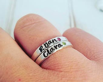 Two Sterling Silver Name Rings, Birthstone ring, Personalized Name Ring, Stackable Rings, Mommy Name Ring, Birthstone name ring, 3mm wide