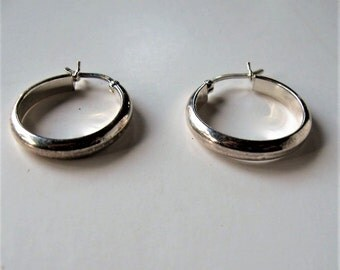 "Vintage sterling silver 925 hoop earrings, 7/8"", 2.2 grams, Mother's Day, gift idea"