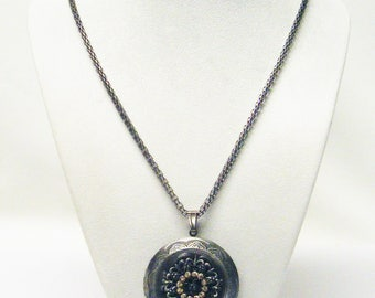 Large Round Decorative Hematite Keepsake Locket w/Rhinestone Necklace