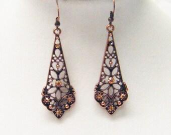 Copper Drop w/Rhinestones Oval Earrings