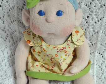 "Fretta's Flower BeBe Doll. 40.6 cm / 16"" Soft sculpture Baby Girl. Reversible Dress Girl Doll. Child Friendly Cloth Baby Doll."