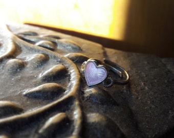 Norwegian vintage 925S sterling silver guilloche pink enamel heart child ring - christening gift girl - Arne Nordlie