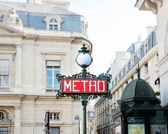 Paris red metro photograph, Art Nouveau design, Paris rooftops, Paris subway signpost, Square photo print, gift under 50, gift for her