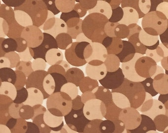 2 1/4 Yards Fabric Brown Circles