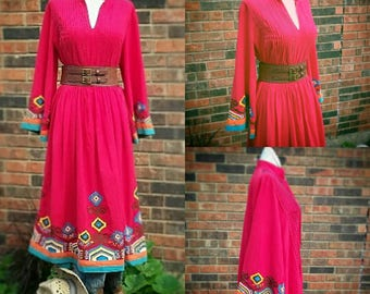 VLV Womens Plus Size Red Southwestern Print Boho Native Patio  Rockabilly Western Pinup Dress Clothing