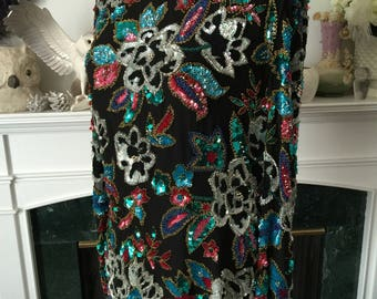 80s Show Stopping sequined Beaded Silk top