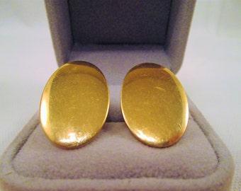 Vintage Anson 12K GF Gold Cuff Links 1960's Men's Jewelry Oval Cufflinks Accessory Gift