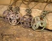 Forged Copper Viking Celtic Triskele Triple Spiral  Necklace Pendant