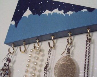 Mountain Decor Jewelry Hanger - Abstract Triangle Key Rack - Geometric Jewelry Display - Mountain Peaks Jewelry Organizer & Earring Holder