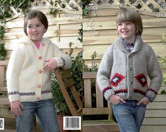 Knitting Pattern King Cole 3821 Chunky Knit Children's Jacket Cardigan