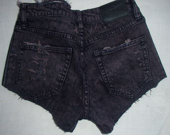 PURPLE Acid Wash/ Faux Leather Sides /GAGA Jeans Shorts/Bum Cheek Jean Shorts/ RIPPED Jean Shorts/ Distressed Street Style Jeans