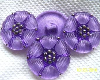 Czech  Glass Buttons  4 pcs  REVERSE PAINTED  27mm   IVA rp 036