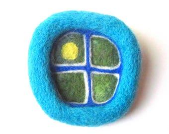 felt window brooch, needle felted pin, light blue window, fiber art, felted wool badge.