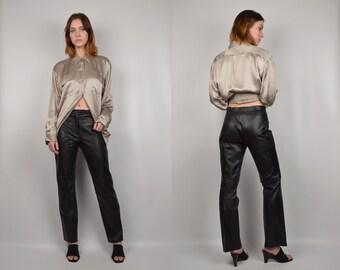 Black Leather Vintage Straight Leg Pants