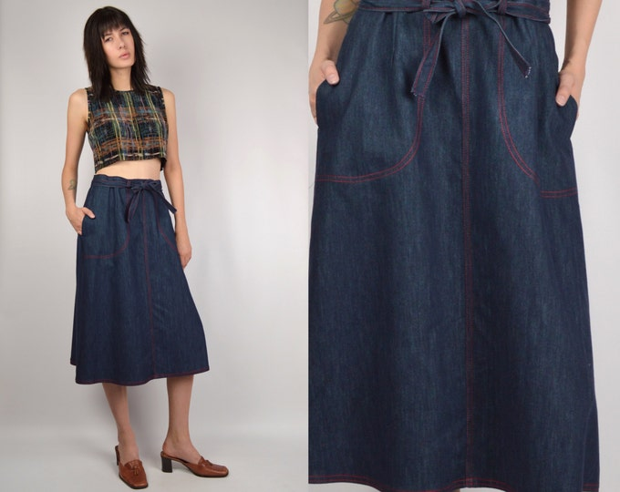 70's Denim Cirle Skirt high waisted midi minimalist