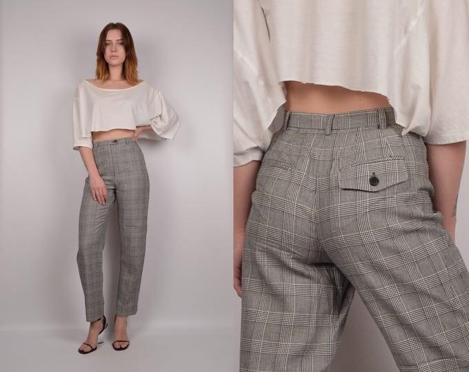 Vintage High Waist Plaid Trouser Pants